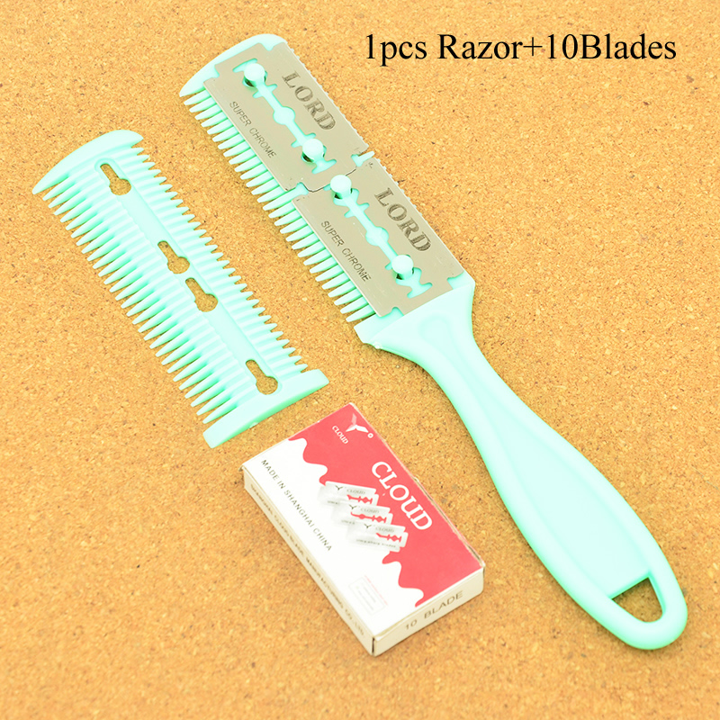 [해외]Meisha 1pcs Hair Razors & 10pcs Blades Hair Razor Comb Cutting Thinning Comb Home DIY Trimmer insideBlades Brush HC0001/Meisha 1pcs Hair Razor